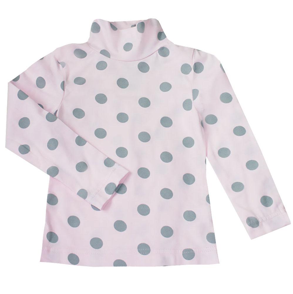 Водолазка для девочки КотМарКот Горох, цвет: розовый, серый. 13746. Размер 98, 3 года13746Водолазка для девочки КотМарКот Горох с длинными рукавами и воротником-гольф выполнена из натурального хлопка. Изделие оформлено контрастным принтом в крупный горох.