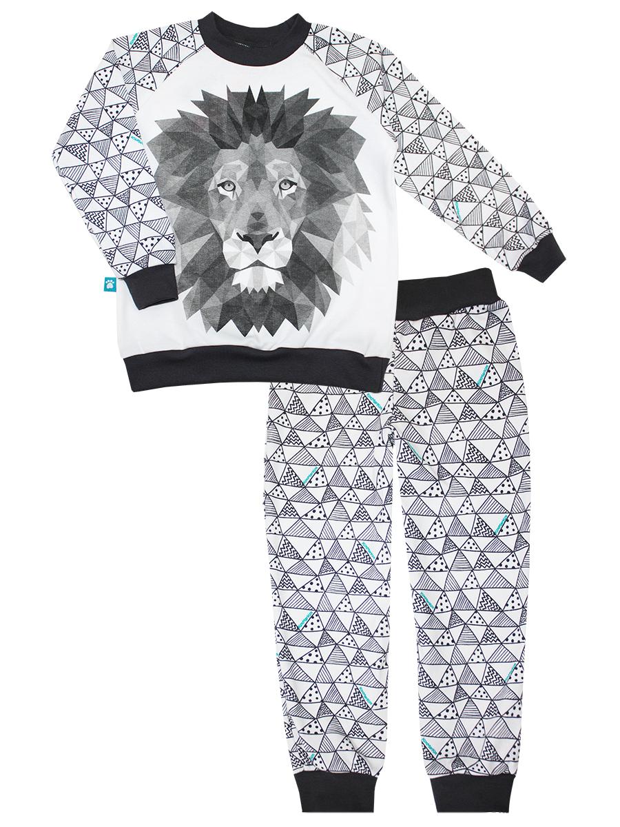 Пижама16573Пижама для мальчика КотМарКот Геометрия включает в себя лонгслив и брюки. Пижама изготовлена из натурального хлопка. Лонгслив с круглым вырезом горловины и длинными рукавами оформлен оригинальным принтом. Брюки с широкой эластичной резинкой на поясе, снизу дополнены широкими эластичными манжетами.