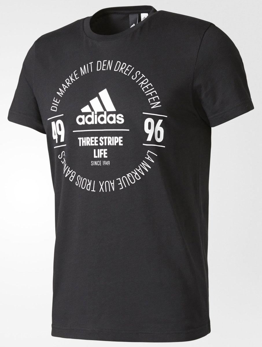 ФутболкаBK2801Футболка мужская adidas Logo Tee выполнена из натурального хлопка. Модель с круглым вырезом горловины и короткими рукавами оформлена оригинальным принтом.