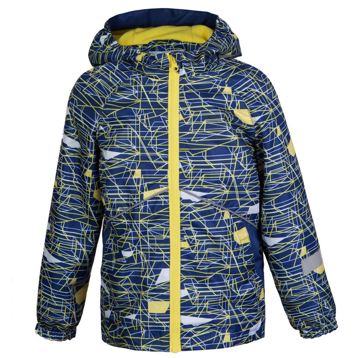 Ветровка для мальчика Jicco Старт, цвет: синий, желтый. 3К1718. Размер 104, 4 года3К1718Легкая весенняя ветровка Старт от Jicco By Oldos из принтованной курточной ткани станет украшением весеннего гардероба. Такая курточка идеально подойдет на ветреную погоду с температурой +10…+20°С, она защитит от легкого весеннего дождя и переменчивого ветра. Модель застегивается на молнию. По всей длине молнии имеется внутренняя ветрозащитная планка с защитой подбородка от прищемления. Модель имеет флисовую подкладку на груди, спинке и в капюшоне. Капюшон не отстегивается, для лучшего прилегания по бокам вшита резинка. Манжеты рукавов на резинке, низ куртки снабжен регулируемой утяжкой. Светоотражающие элементы для безопасной прогулки в темное время суток. С лицевой стороны расположены карманы на молнии.