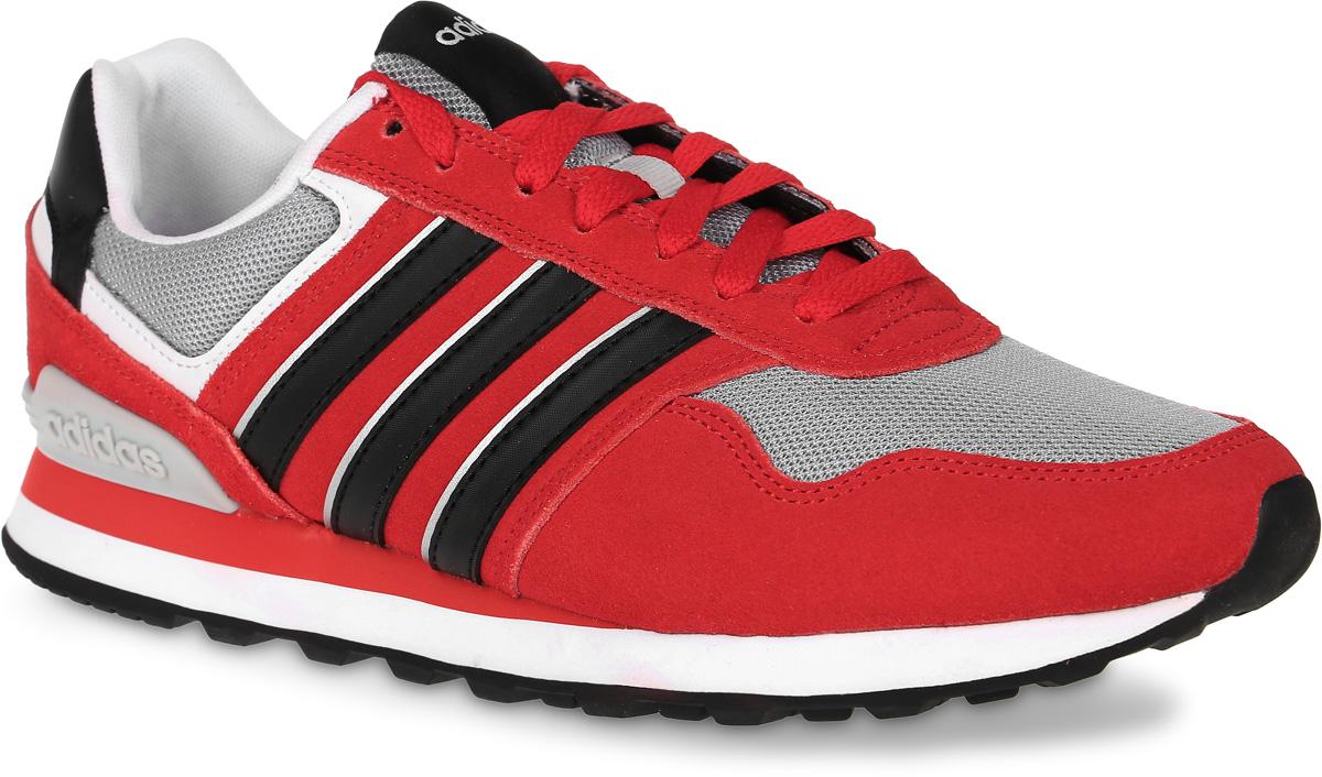 Кроссовки мужские adidas Neo 10K, цвет: красный, серый, черный. AW3849. Размер 11 (44,5)AW3849Мужские кроссовки adidas Neo 10K выполнены из натурального замши, искусственной кожи и текстиля. Модель оформлена фирменными нашивками. Шнурки надежно зафиксируют модель на ноге. Внутренняя поверхность из мягкого текстиля комфортна при движении. Стелька выполнена из легкого ЭВА-материала с поверхностью из текстиля. Подошва изготовлена из высококачественной резины и дополнена протектором.