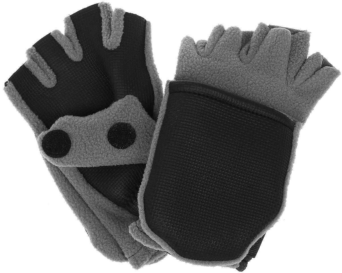 Перчатки для рыбалки3040Теплые перчатки-варежки для рыбалки Era Outdoo выполнены из флиса и неопрена. Такие перчатки позволяют рыболову оставить открытыми лишь верхние фаланги пальцев, что позволяет удобно держать удочку, насаживать наживку или снимать с крючка рыбу. При необходимости фаланги пальцев можно закрыть капюшоном. Капюшон фиксируется на перчатке при помощи липучки. Манжеты изделия присборены на резинку и дополнены эластичными хлястиками с липучками. На большом пальце имеется разрез. Такие перчатки предоставляют максимально возможный комфорт при открытых рабочих пальцах и хорошую защиту от холода и ветра.