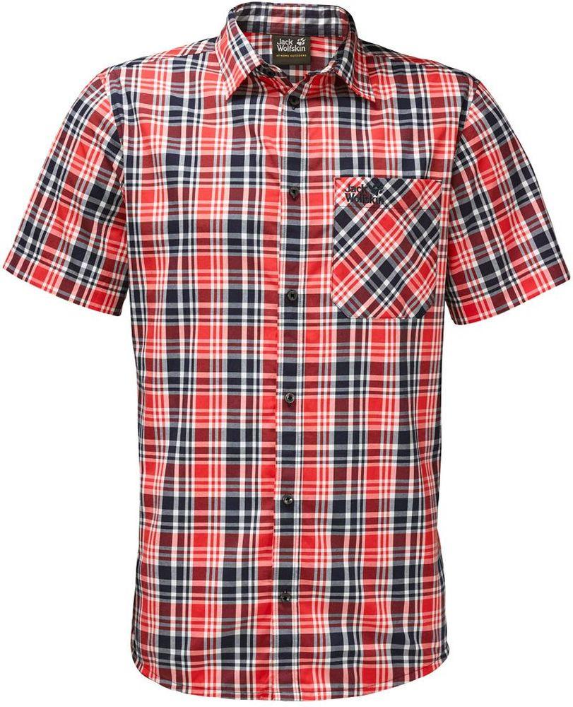 Рубашка мужская Jack Wolfskin Saint Elmos Shirt M, цвет: красный. 1401582-7889. Размер XXXL (56)1401582-7889Рубашка мужская Saint Elmos Shirt M изготовлена из 100% полиамида. Ткань легкая и дышащая, кроме того, она быстро сохнет и обладает защитой от ультрафиолета (UPF 30+). Рубашка застегивается на пуговицы, имеет отложной воротник и короткие стандартные рукава. Спереди расположен накладной нагрудный карман, по бокам имеются вшитые карманы. Модель дополнена принтом в клетку и логотипом бренда. Такая рубашка идеально подходит для путешествий в жаркие страны и отдыха на природе.