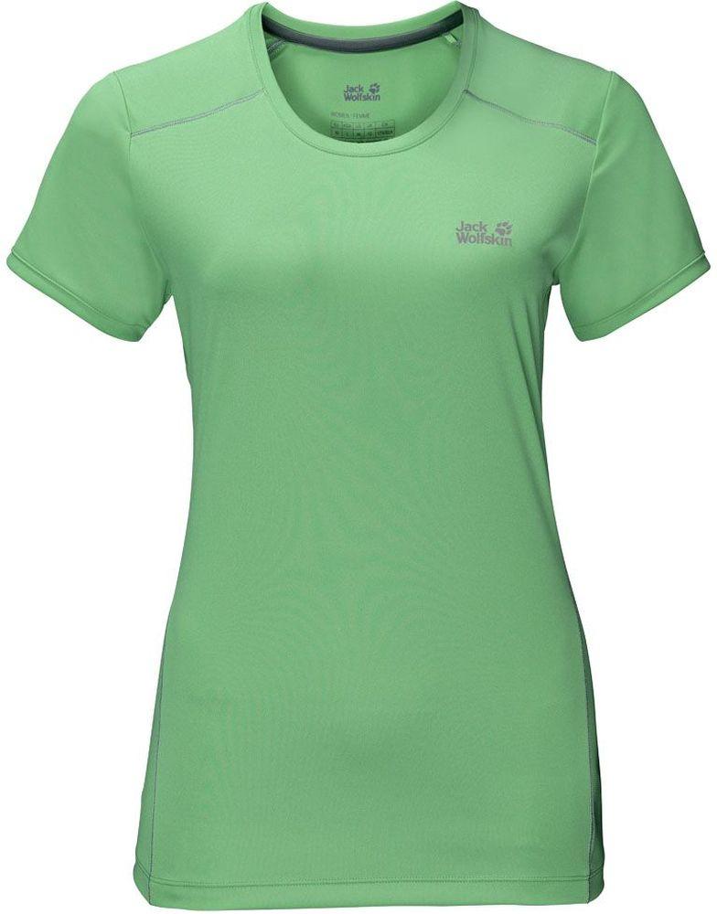 Футболка женская Jack Wolfskin Rock Chill T-Shirt W, цвет: зеленый. 1805411-4154. Размер XL (50/52)1805411-4154Футболка женская Rock Chill T-Shirt W выполнена из 100% полиэстера с уникальным эффектом терморегуляции. Ткань охлаждает, когда жарко, и согревает, когда прохладно. Она легкая и мягкая, быстро сохнет, приятная на ощупь и очень прочная. Кроме того, специальная обработка уменьшает образование неприятных запахов. Модель имеет круглый вырез горловины и короткие рукава. Такая футболка идеальна для бега, пеших прогулок и отдыха на природе.
