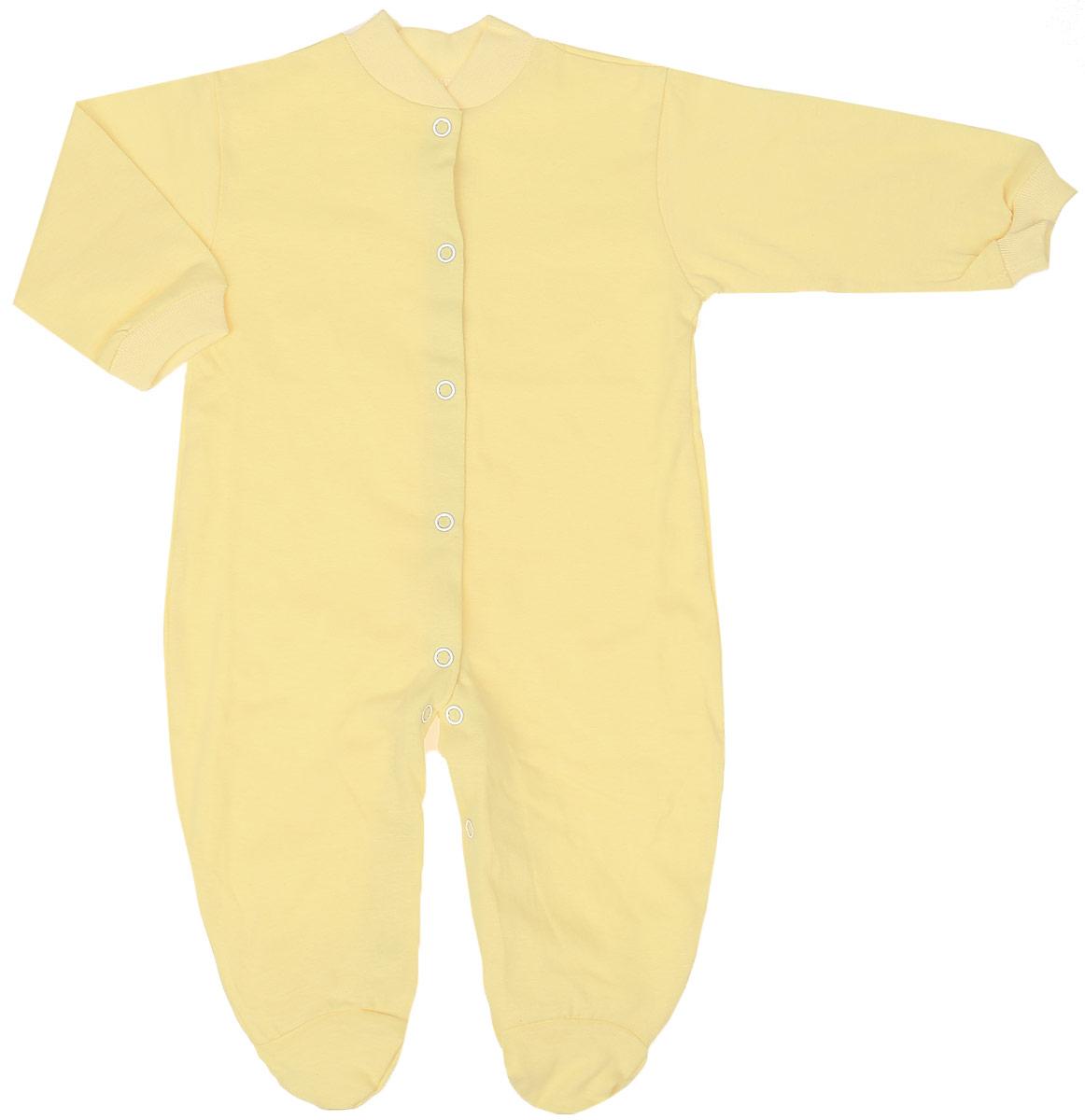 Комбинезон домашний5801Удобный детский комбинезон Чудесные одежки выполнен из натурального хлопка. Комбинезон с небольшим воротничком-стойкой, длинными рукавами и закрытыми ножками имеет застежки-кнопки спереди и на ластовице, которые помогают легко переодеть младенца или сменить подгузник. Воротничок и манжеты на рукавах выполнены из трикотажной эластичной резинки. Изделие оформлено в лаконичном дизайне.