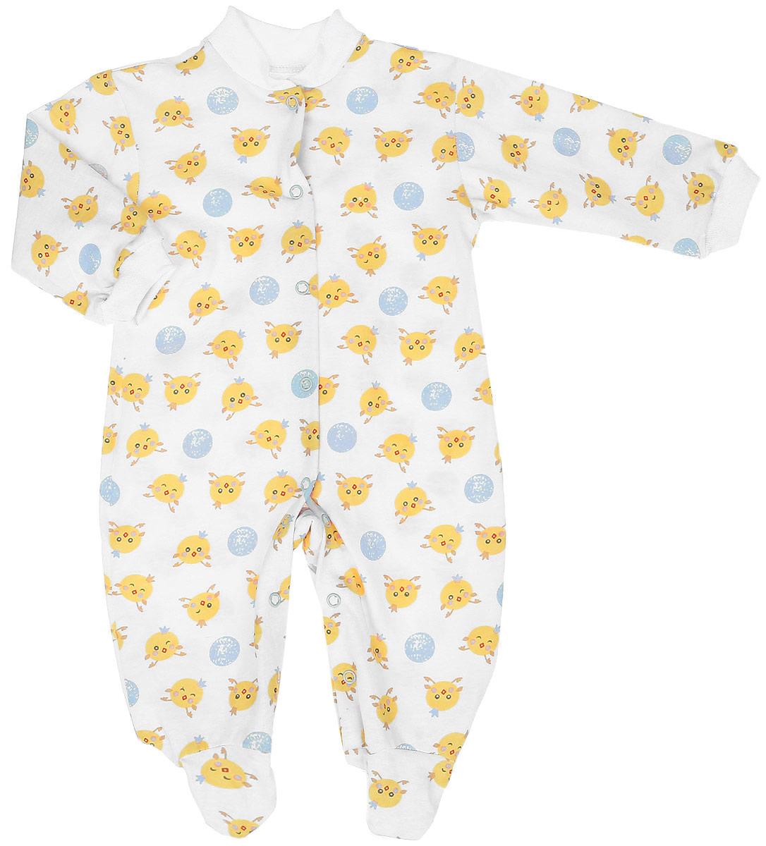 Комбинезон домашний5801Удобный детский комбинезон Чудесные одежки выполнен из натурального хлопка. Комбинезон с небольшим воротником-стойкой, длинными рукавами и закрытыми ножками имеет застежки-кнопки спереди и на ластовице, которые помогают легко переодеть младенца или сменить подгузник. Воротничок и манжеты на рукавах выполнены из трикотажной эластичной резинки. Изделие оформлено принтом с изображением цыплят.