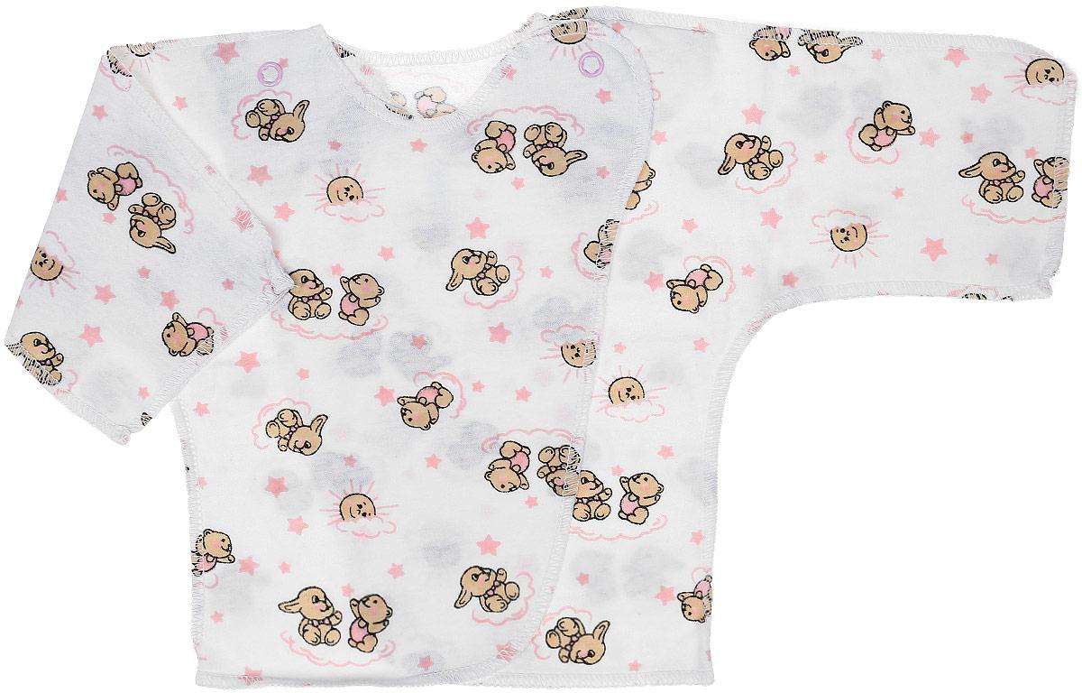 Распашонка-кимоно Чудесные одежки, цвет: белый, розовый. 5002. Размер 505002Удобная детская распашонка Чудесные одежки послужит идеальным дополнением к гардеробу вашей крохи. Модель изготовлена из натурального хлопка, благодаря чему она очень мягкая и легкая.Распашонка с круглым вырезом горловины и длинными цельнокроеными рукавами выполнена швами наружу. Модель-кимоно застегивается на внутреннюю и внешнюю кнопку, что помогает при переодевании малыша. Оформлена распашонка интересным принтом с изображением зайчиков.