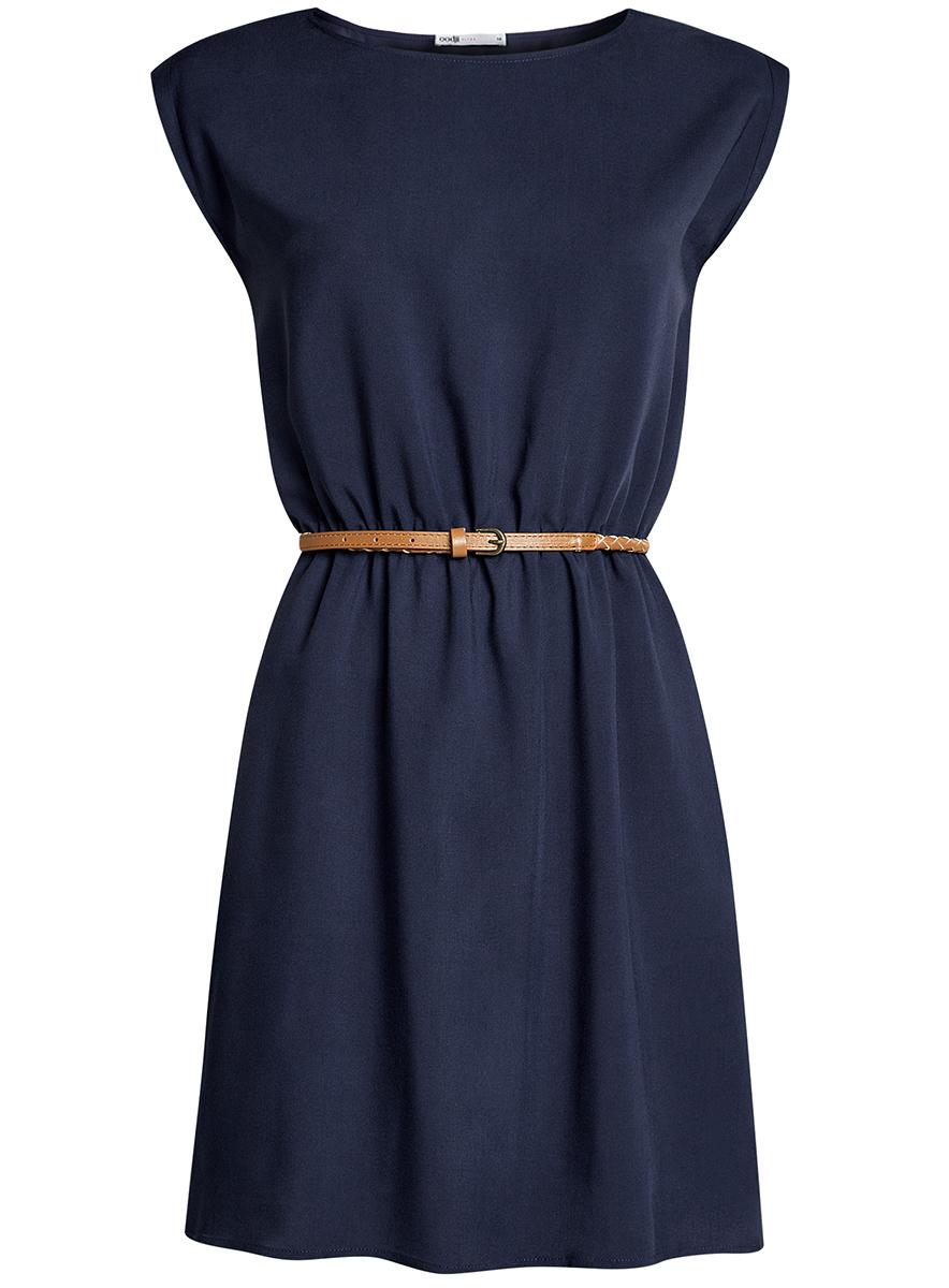 Платье oodji Ultra, цвет: темно-синий. 11910073B/26346/7900N. Размер 42-170 (48-170)11910073B/26346/7900NПлатье oodji Ultra, выгодно подчеркивающее достоинства фигуры, выполнено из легкой струящейся ткани. Модель мини-длины с круглым вырезом горловины и короткими рукавами дополнена двумя прорезными карманами на юбке.В комплект с платьемвходит узкий ремень из искусственной кожи с металлической пряжкой.