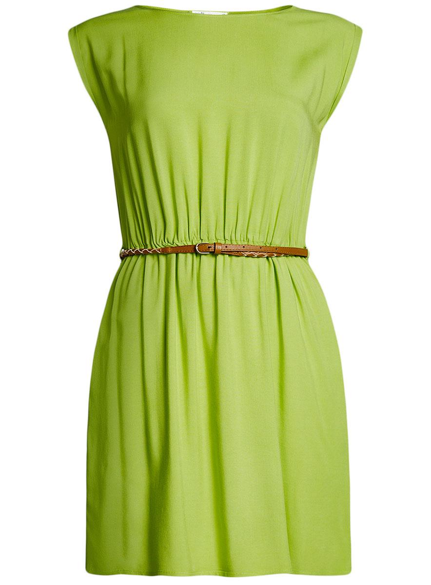 Платье oodji Ultra, цвет: зеленый. 11910073B/26346/6B00N. Размер 36-170 (42-170)11910073B/26346/6B00NПлатье oodji Ultra, выгодно подчеркивающее достоинства фигуры, выполнено из легкой струящейся ткани. Модель мини-длины с круглым вырезом горловины и короткими рукавами дополнена двумя прорезными карманами на юбке.В комплект с платьемвходит узкий ремень из искусственной кожи с металлической пряжкой.