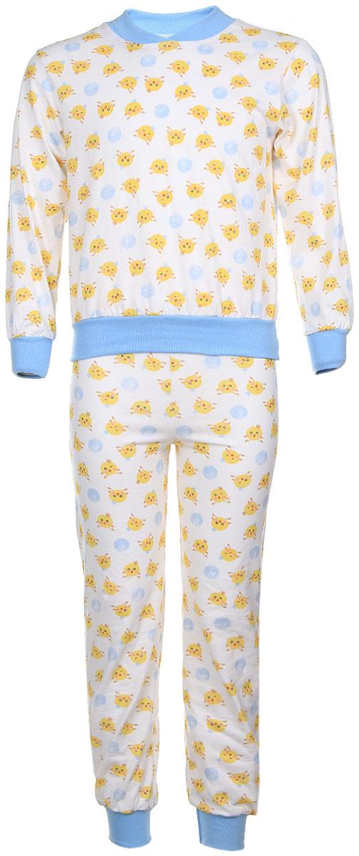 Пижама5Детская пижама Чудесные одежки выполнена из натурального хлопка. Пижама оформлена притом с милыми цыплятами. Кофта с длинными рукавами и удобным круглым воротом. Штанишки на талии собраны на резинку. Манжеты рукавов и штанишек, горловина и низ кофты отделаны эластичными мягкими резинками.