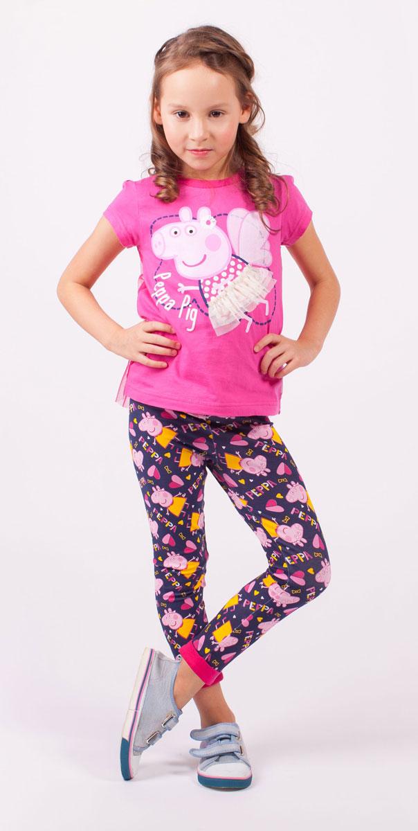 ФутболкаZG 02504-F1Стильная футболка для девочки Free Age Peppa Pig станет стильным дополнением к гардеробу маленькой модницы. Изготовленная из натурального хлопка, она мягкая и приятная на ощупь. Футболка с короткими рукавами и круглым вырезом горловины оформлена термоаппликацией с изображением мультипликационного героя Свинки Пеппа, а также надписью. Спинка футболки декорирована прозрачной сетчатой тканью.