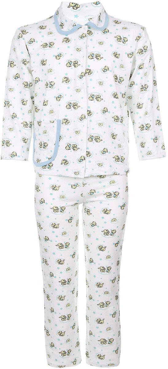 Пижама детская Чудесные одежки, цвет: белый, голубой. 5562. Размер 110/1165562Уютная детская пижама Чудесные одежки выполнена из натурального хлопка. В комплект входит кофточка и брюки. Кофточка с отложным воротником и стандартными длинными рукавами застегивается спереди на кнопки. Дополнена модель накладным карманом. Кармашек и воротник изделия дополнены контрастной хлопковой бейкой.Брюки имеют эластичный пояс.Оформлена пижама интересным принтом с изображением зайчиков.