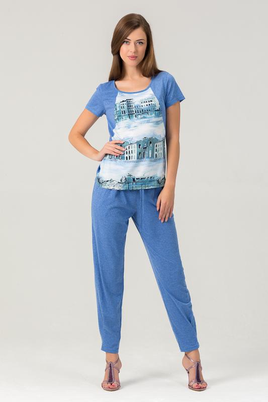 Домашний комплект450К2Оригинальный женский комплект из вискозы для дома, состоящий из футболки и зауженных брюк.