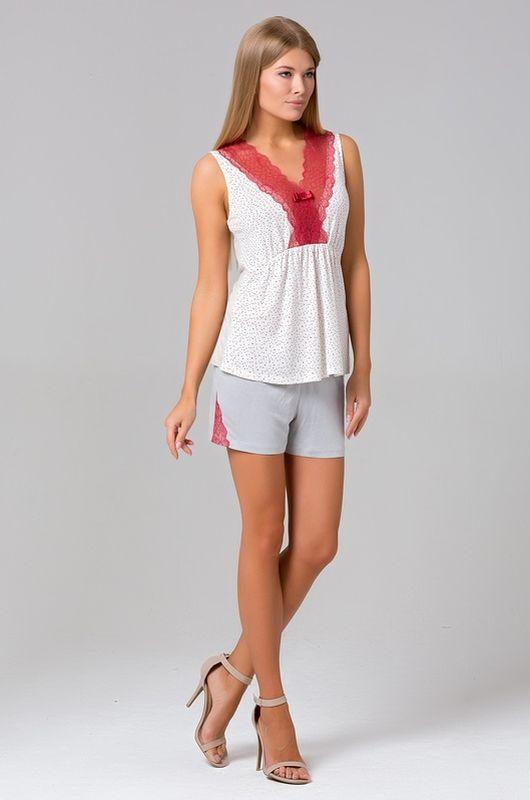 Пижама430П1Великолепная пижамка, состоящая из топа и шорт.