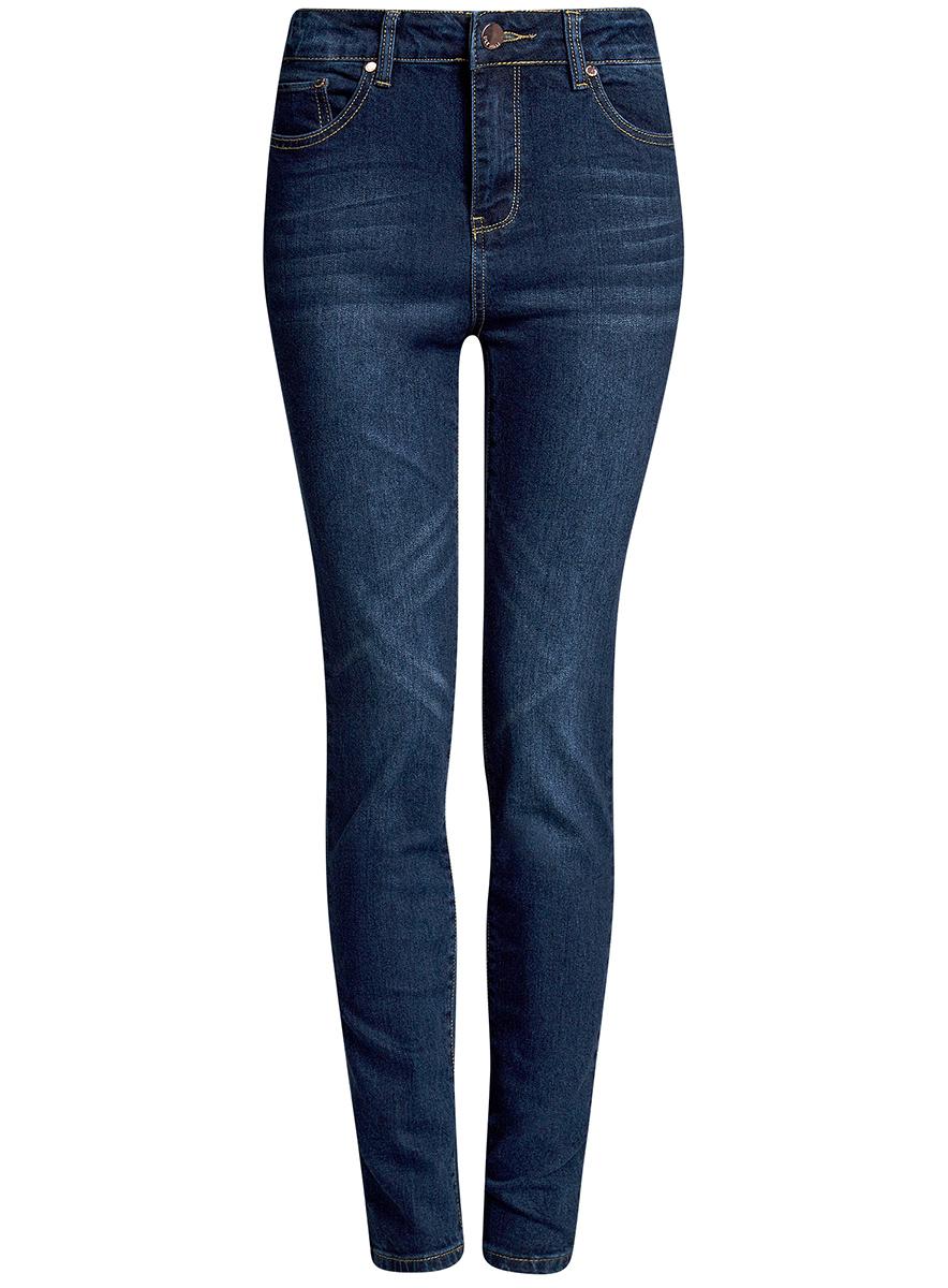 Джинсы12103145-1B/46341/7000WЖенские джинсы oodji Ultra выполнены из высококачественного материала. Модель-слим завышенной посадки по поясу застегиваются на пуговицу и имеют ширинку на застежке-молнии, а также шлевки для ремня. Джинсы имеют спереди - два втачных кармана, а сзади - два накладных кармана.