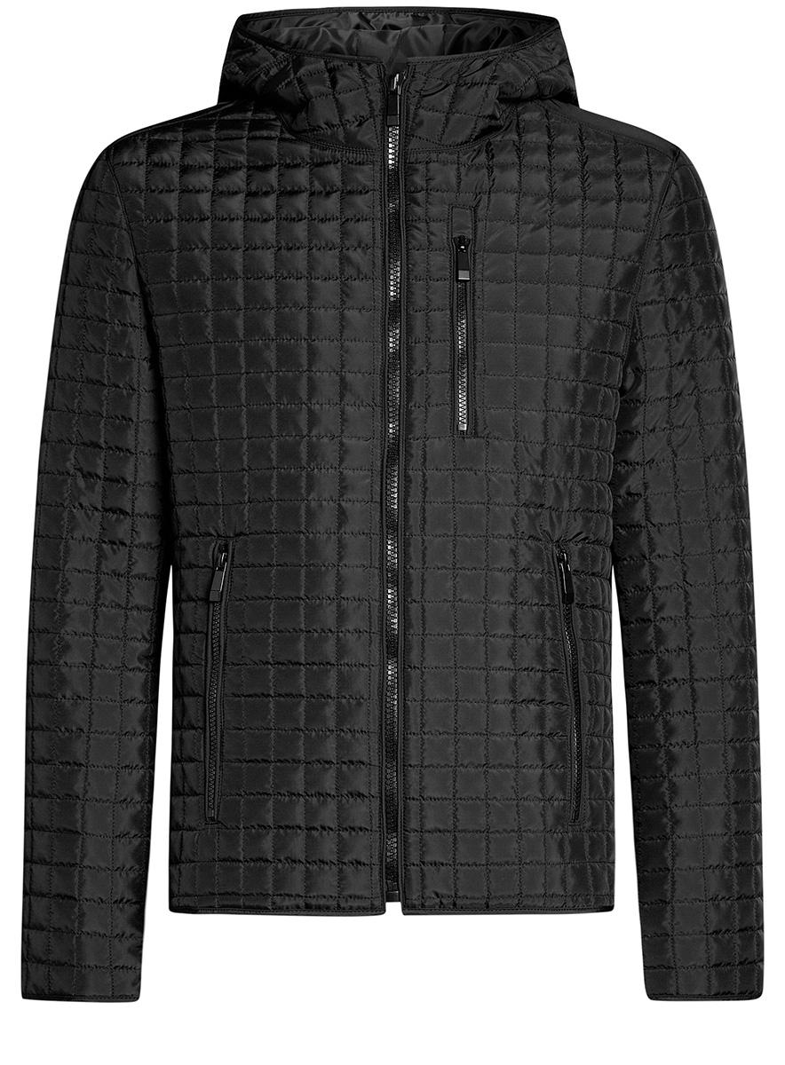 Куртка1B112007M/46376N/2900NМужская куртка oodji Basic выполнена из высококачественного материала. В качестве подкладки и утеплителя используется полиэстер. Модель с капюшоном застегивается на застежку-молнию. Спереди расположено три прорезных кармана на застежках-молниях.