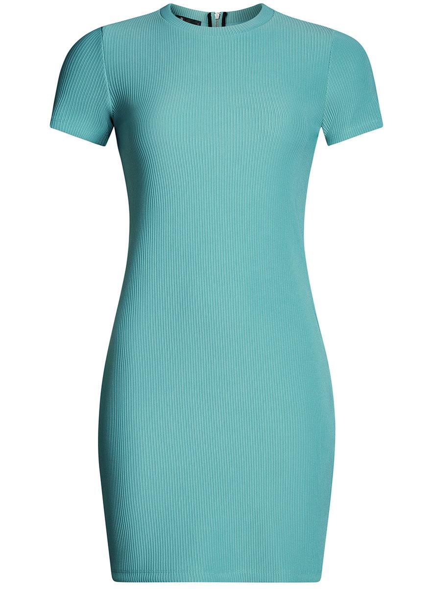 Платье14011007/45262/2900NСтильное трикотажное платье oodji Ultra выполнено из высококачественного комбинированного материала в мелкую резинку, мягкого и нежного на ощупь. Модель по фигуре с круглым вырезом горловины и короткими рукавами застегивается на спинке на застежку-молнию.