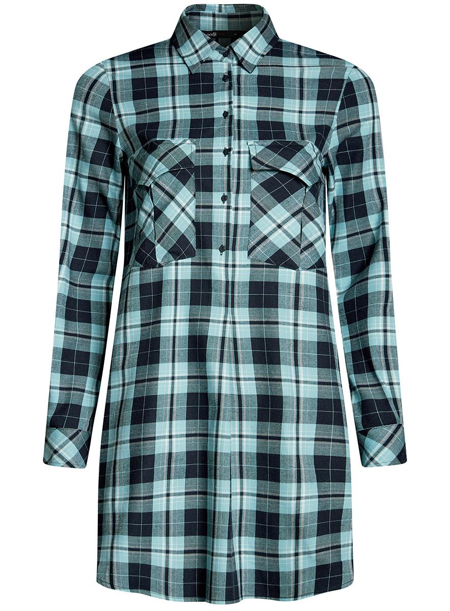 Платье11911004-2/45252/1279CПлатье-рубашка oodji Ultra выполнено из натурального хлопка с принтом в крупную клетку. Модель с отложным воротничком и закругленными разрезами застегивается на пуговицы и дополнена на груди двумя накладными карманами под клапанами. Манжеты рукавов также застегиваются на пуговицы.