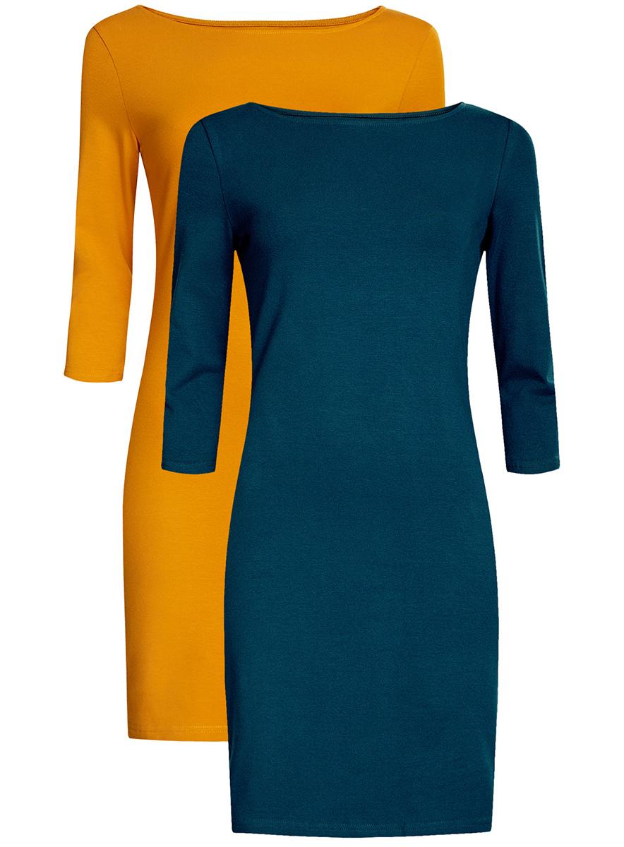 Платье oodji Ultra, цвет: темно-бирюзовый, горчичный, 2 шт. 14001071T2/46148/7952N. Размер XL (50)14001071T2/46148/7952NКомплект из двух мини-платьев oodji Ultra изготовлен из хлопка с добавлением эластана. Обтягивающие платья с круглым вырезом и рукавами 3/4 выполнены в лаконичном дизайне. В комплекте два платья представлены в разных цветах.