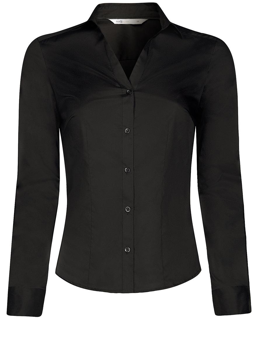 Рубашка11402092B/42083/1000NРубашка женская oodji Ultra выполнена из высококачественного материала. Модель приталенного кроя с V-образным вырезом горловины и длинными рукавами застегивается на пуговицы. Рукава дополнены манжетами с пуговицами.