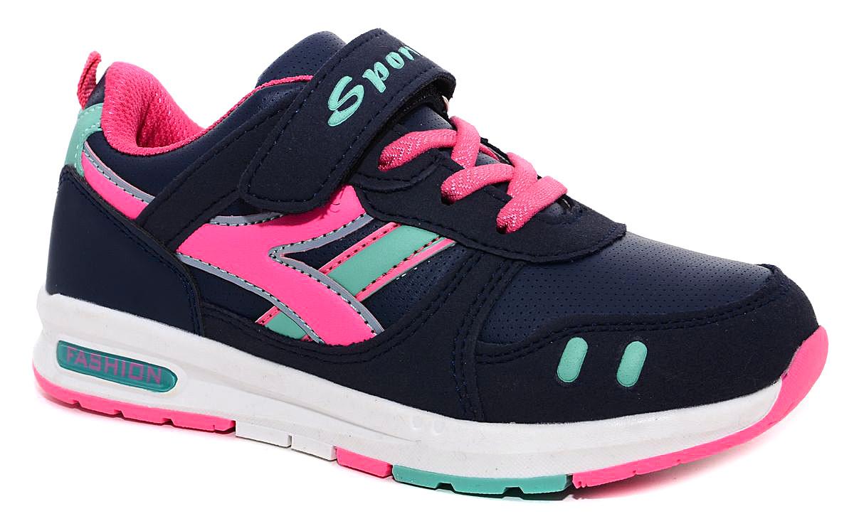 Кроссовки для девочки М+Д, цвет: темно-синий, розовый. 6787_7. Размер 376787_7Кроссовки для девочки М+Д выполнены из качественной искусственной кожи. Модель оформлена яркими декоративными вставками. Обувь фиксируется на ноге при помощи удобной шнуровки и липучки. Практична подошва из полимера дополнена рифлением.