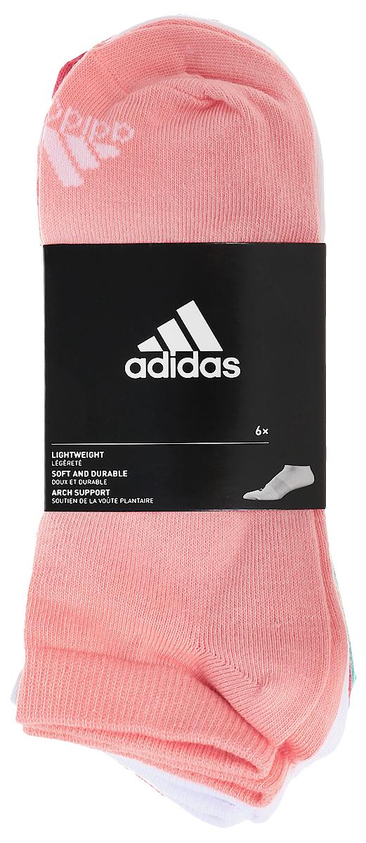 Комплект носковS99897Женские носки adidas Per No-Sh T изготовлены из высококачественного эластичного хлопка с добавлением полиамида и полиэстера. Укороченные носки с поддержкой стопы имеют эластичную резинку, которая надежно фиксирует носки на ноге. В комплект входят 6 пар носков разных цветов: розового, белого, светло-розового, темно-синего, серого и мятного.