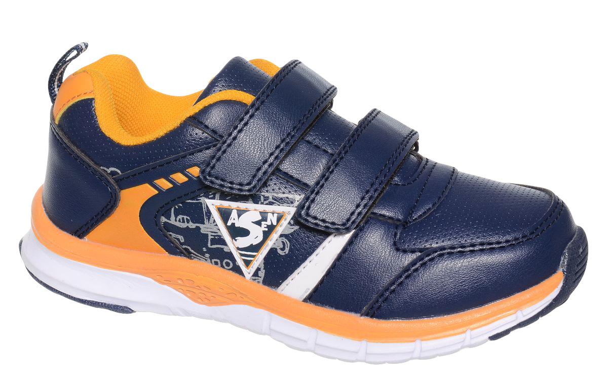 Кроссовки для мальчика BiKi, цвет: темно-синий, оранжевый. A-B82-84-B. Размер 29A-B82-84-BКроссовки от фирмы BiKi выполнены из искусственной кожи с перфорацией. По бокам модель оформлена принтовым рисунком. На заднике предусмотрена текстильная петелька для удобства обувания. Застежки-липучки обеспечивают надежную фиксацию обуви на ноге ребенка. Подкладка выполнена из текстиля и натуральной кожи, что предотвращает натирание и гарантирует уют. Подошва с рифлением обеспечивает идеальное сцепление с любыми поверхностями. Стильные и удобные кроссовки - незаменимая вещь в гардеробе каждого школьника.