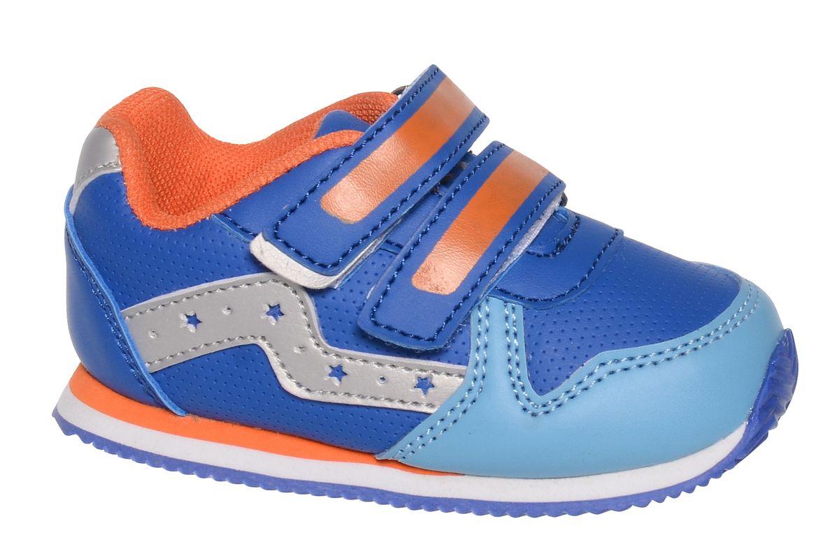 Кроссовки для мальчика BiKi, цвет: синий, оранжевый. A-B85-96-D. Размер 21A-B85-96-DКроссовки от фирмы BiKi выполнены из искусственной кожи с перфорацией. По бокам модель оформлена декоративными элементами из кожи с перфорированными звездами. Застежки-липучки обеспечивают надежную фиксацию обуви на ноге ребенка. Подкладка выполнена из текстиля и натуральной кожи, что предотвращает натирание и гарантирует уют. Подошва с рифлением обеспечивает идеальное сцепление с любыми поверхностями. Стильные и удобные кроссовки - незаменимая вещь в гардеробе каждого школьника.