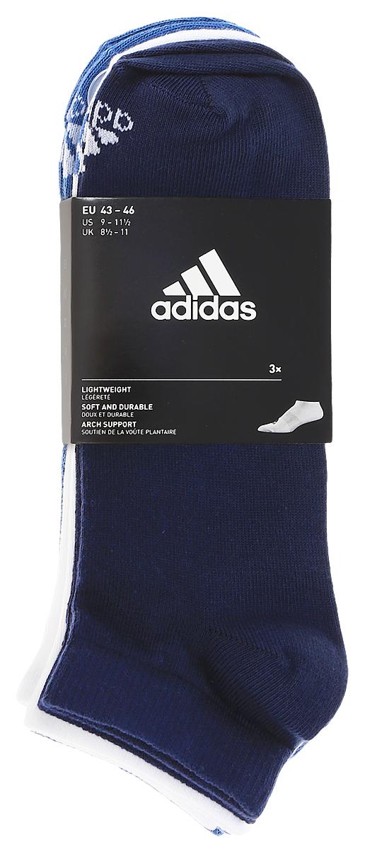 Носки adidas Per No-Sh T, цвет: темно-синий, белый, голубой, 3 пары. S99895. Размер 35/38S99895Носки adidas Per No-Sh T изготовлены из высококачественного эластичного хлопка с добавлением полиамида. Укороченные носки с поддержкой стопы имеют эластичную резинку, которая надежно фиксирует носки на ноге. В комплект входят 3 пары носков разных цветов.