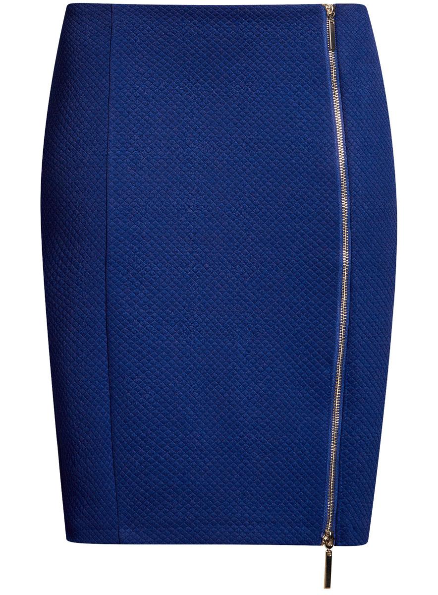Юбка oodji Ultra, цвет: синий. 14101080-1/42408/7501N. Размер XXS (40)14101080-1/42408/7501NСтильная юбка-карандаш выполнена из фактурного материала. Спереди модель дополнена двусторонней застежкой-молнией.