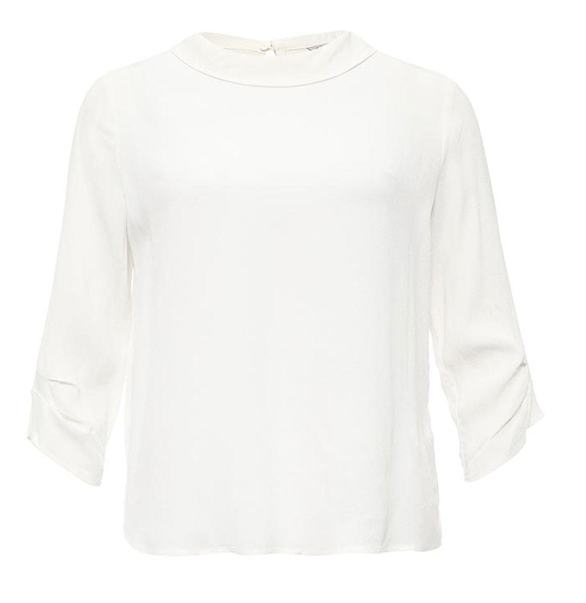 Блузка женская Sela, цвет: молочный. Tw-112/1172-7131. Размер 48Tw-112/1172-7131Лаконичная женская блузка Sela выполнена из тонкого легкого материала. Модель прямого кроя с отложным воротничком и рукавами 3/4 застегивается сзади на пуговицу. Блузкаподойдет для офиса, прогулок и дружеских встреч и будет отлично сочетаться с джинсами и брюками, и гармонично смотреться с юбками. Мягкая ткань на основе вискозы комфортна и приятна на ощупь.