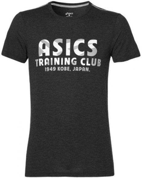 Футболка141806-0001Мужская футболка Asics Training Club SS Top изготовлена из полиэстера с добавлением вискозы. Модель с круглой горловиной и короткими рукавами. Однотонная футболка спереди декорирована буквенным принтом.