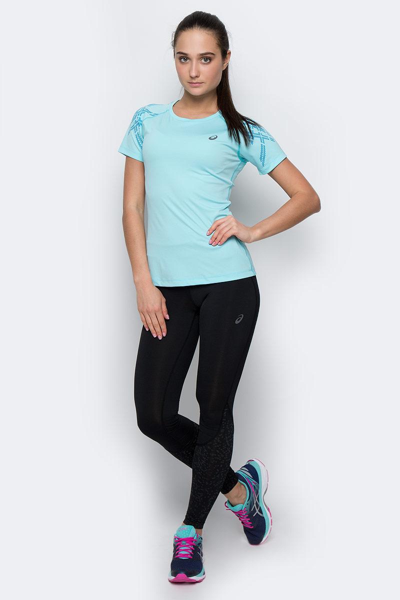 Футболка141224-6039Женская футболка Asics Stripe Ss Top изготовлена из высококачественного полиэстера. Модель с короткими рукавами-реглан и круглым вырезом горловины имеет комфортные плоские швы. Изделие оформлено светоотражающим узором на рукавах.