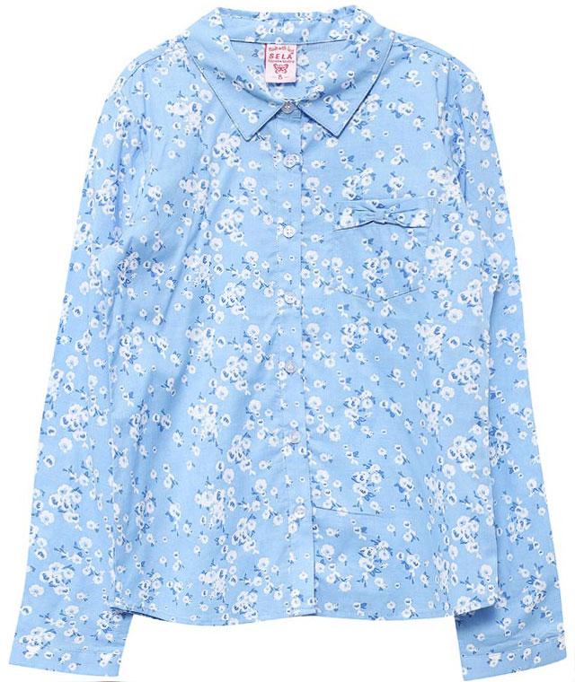 БлузкаB-612/846-7151Оригинальная блузка для девочки Sela выполнена из натурального хлопка и оформлена цветочным принтом. Модель прямого кроя с отложным воротничком застегивается на пуговицы и дополнена накладным карманом, оформленным бантиком. Манжеты длинных рукавов также дополнены пуговицами. Блузка подойдет для прогулок и дружеских встреч и будет отлично сочетаться с джинсами и брюками, и гармонично смотреться с юбками. Мягкая ткань комфортна и приятна на ощупь.