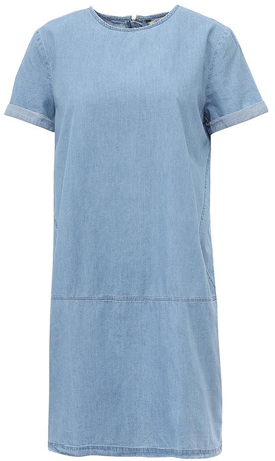 Платье Sela, цвет: голубой джинс. Djs-137/011-7161. Размер 50Djs-137/011-7161Лаконичное джинсовое платье Sela выполнено из натурального хлопка и дополнено двумя прорезными карманами. Модель прямого кроя с круглым вырезом горловины застегивается на короткую металлическую молнию на спинке. Мягкая ткань комфортна и приятна на ощупь. Платье подойдет для прогулок и дружеских встреч и станет отличным дополнением гардероба.
