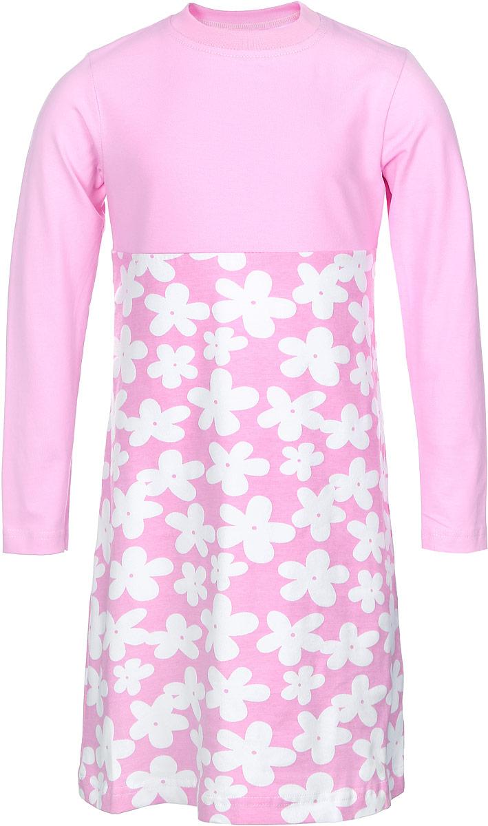 Платье21841Платье для девочки КотМарКот Ромашка выполнено из натурального хлопка. Модель средней длины с длинными рукавами и круглым вырезом горловины имеет пришивную юбку. Горловина изделия дополнена эластичной бейкой. Платье оформлено контрастным цветочным принтом.