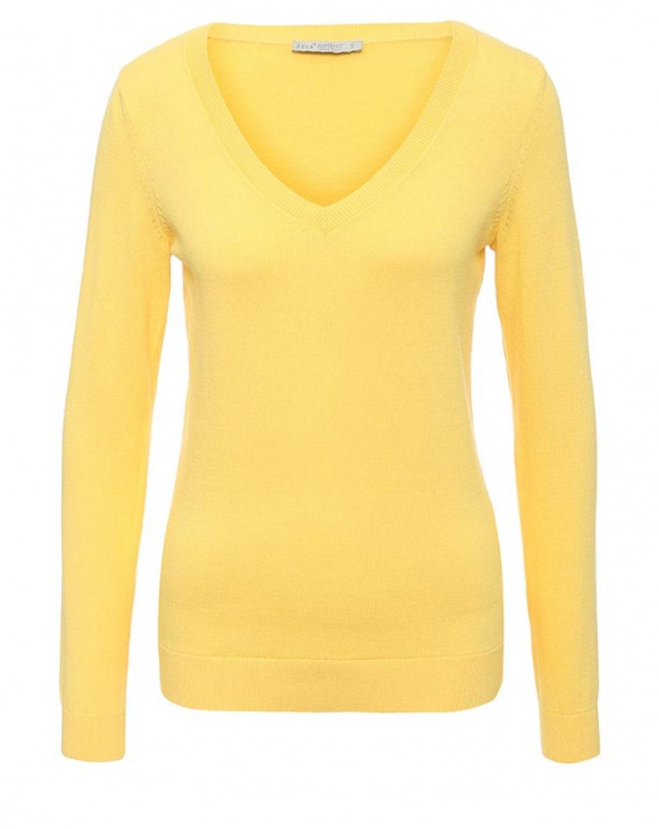 Пуловер женский Sela, цвет: желтый. JR-114/2022-7181. Размер M (46)JR-114/2022-7181Женский пуловер Sela выполнен из натурального хлопка мелкой вязки. Модель приталенного кроя с V-образным вырезом горловины подойдет для офиса, прогулок и дружеских встреч и будет отлично сочетаться с джинсами и гармонично смотреться с юбками. Воротник, манжеты рукавов и низ изделия связаны резинкой.