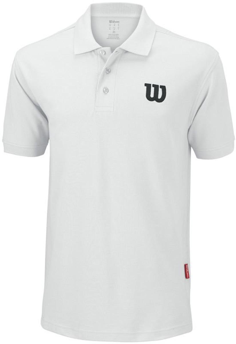 Поло для тенниса мужское Wilson Core Cotton W Polo, цвет: белый. WRA720607. Размер S (46)WRA720607Классическое теннисное поло Wilson на трех пуговицах выполнено из натурального хлопка. Модель с короткими рукавами и отложным воротником.