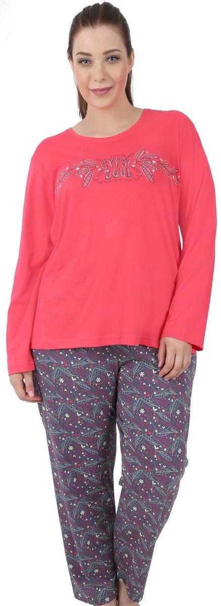 Пижама504198 4375Пижама женская Vienettas Secret исполнена из 100% хлопка. Лонгслив оформлен принтом с надписью на анлийском языке. Брюки принтованы мелким узором и имеют завязки на талии.