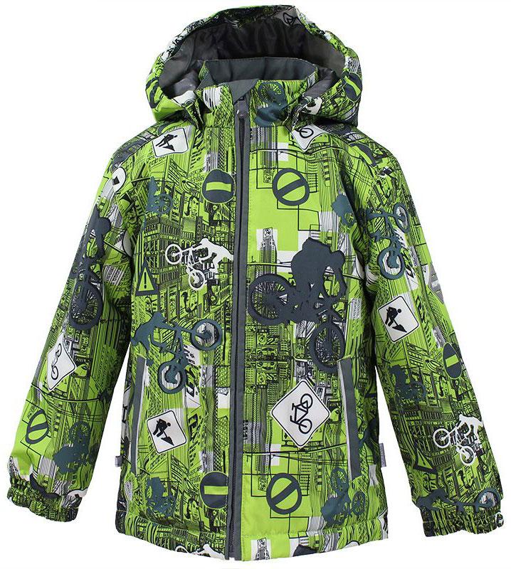 Куртка для мальчика Huppa Jody, цвет: лайм, серый. 17000004-72247. Размер 13417000004-72247Куртка с подкладкой для мальчика Huppa c длинными рукавами, воротником-стойкой и съемным капюшоном, выполнена из высококачественного водонепроницаемого и ветрозащитного материала на основе полиэстера. Модель застегивается на застежку-молнию с защитой подбородка спереди. Изделие имеет два прорезных кармана на застежках-молниях. Манжеты рукавов собраны на внутренние резинки. Модель оформлена оригинальным контрастным принтом. На изделии имеются светоотражательные элементы для безопасности в темное время суток.
