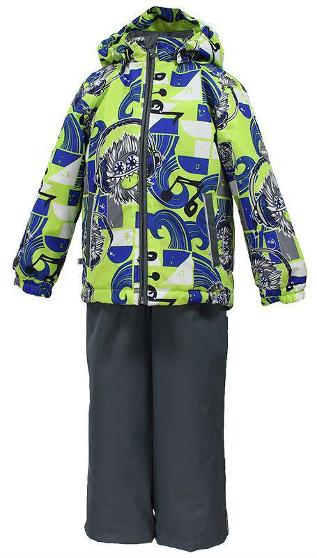 Комплект для мальчика Huppa Yoko: куртка, брюки, цвет: лайм, синий, серый. 41190004-73147. Размер 9241190004-73147Комплект верхней одежды для мальчика Huppa состоит из куртки и брюк. Комплект выполнен из водонепроницаемой и ветрозащитной ткани. Куртка с капюшоном и воротником-стойкой застегивается на пластиковую молнию. На рукавах предусмотрены манжеты, препятствующие проникновению холодного воздуха. Спереди расположены два прорезных кармана. Оформлено изделие оригинальным принтом. Брюки спереди застегиваются на пластиковую молнию. Модель дополнена эластичными наплечными лямками, регулируемыми по длине. На талии предусмотрена широкая резинка. Ширина штанин снизу регулируется.Комплект снабжен светоотражающими элементами, которые не оставят вашего ребенка незамеченным в темное время суток.