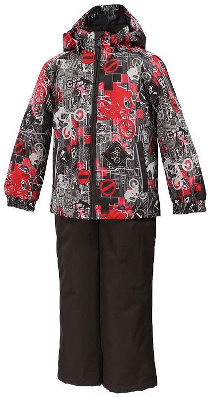 Комплект одежды для мальчика Huppa Yoko 1, цвет: коричневый, красный, белый. 41190104-72281. Размер 14641190104-72281Комплект верхней одежды для мальчика Huppa Yoko выполнен из износостойкого полиэстера и состоит из куртки и брюк. В качестве подкладки и утеплителя используется полиэстер. Ткань имеет водонепроницаемость 10000 мм, воздухопроницаемость 10000 г/м2. Брюки застегиваются на молнию и металлическую кнопку. Изделие дополнено съемными резиновыми подтяжками, длину которых можно регулировать. На талии имеется вшитая эластичная резинка. Снизу брючин предусмотрены шнурки-утяжки со стопперами. Куртка со съемным капюшоном и воротником-стойкой застегивается на молнию. Капюшон пристегивается при помощи кнопок. Манжеты рукавов собраны на внутренние резинки, низ куртки оснащен эластичным шнурком. Спереди модель дополнена двумя врезными карманами.Комплект оснащен светоотражающими элементами.