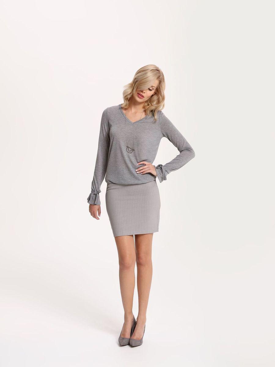 Пуловер женский Top Secret, цвет: темно-серый. SSW2122ST. Размер 36 (44)SSW2122STПуловер женский Top Secret выполнен из полиэстера и вискозы. Модель с V-образным вырезом горловины и длинными рукавами.