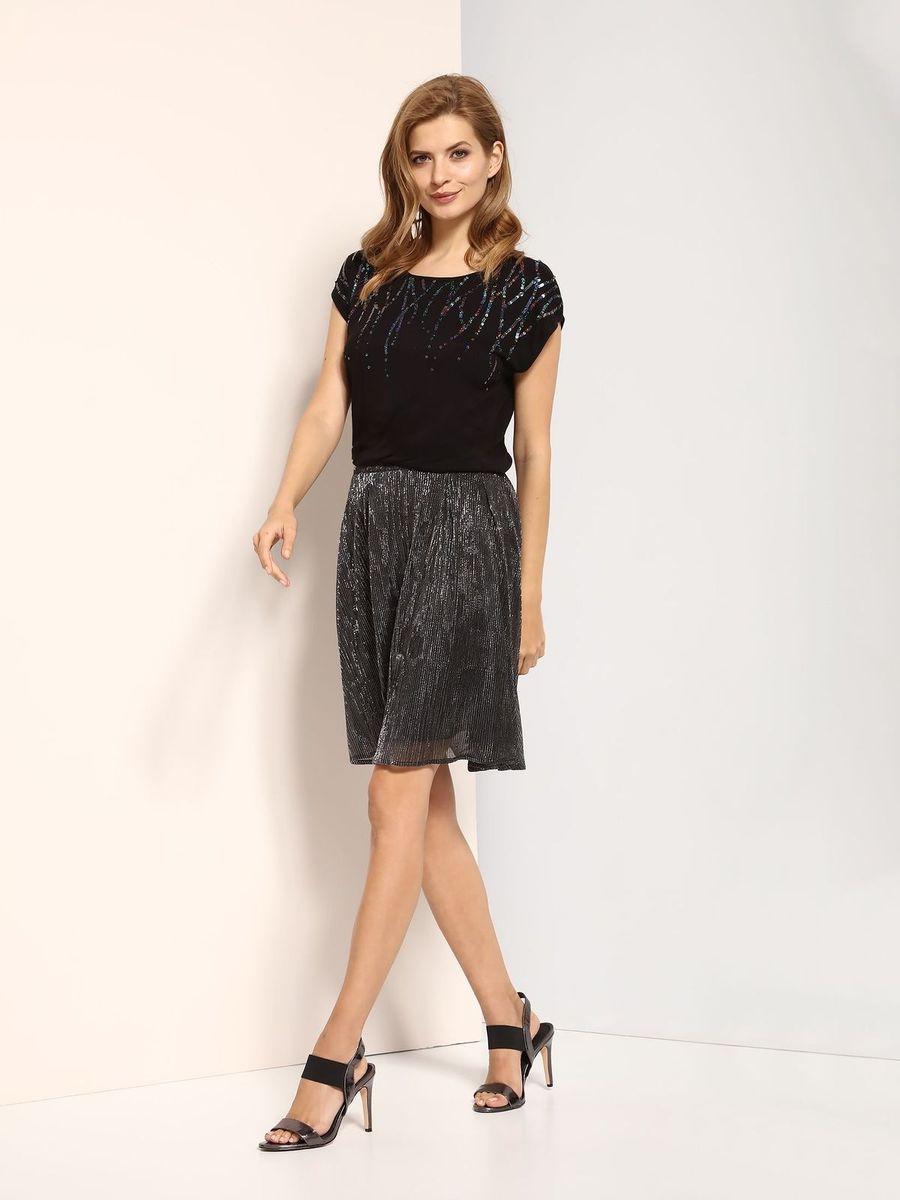 Блузка женская Top Secret, цвет: черный. SBW0320CA. Размер 36 (44)SBW0320CAБлузка женская Top Secret выполнена из вискозы. Модель с круглым вырезом горловины и короткими рукавами.