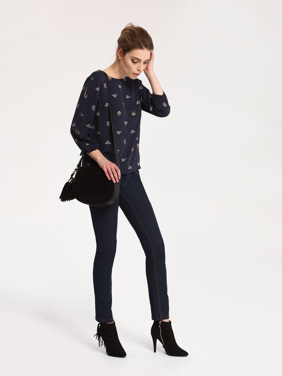 Блузка женская Top Secret, цвет: темно-синий. SBD0655GR. Размер 40 (48)SBD0655GRБлузка женская Top Secret выполнена из полиэстера. Модель с круглым вырезом горловиныи рукавами 7/8.