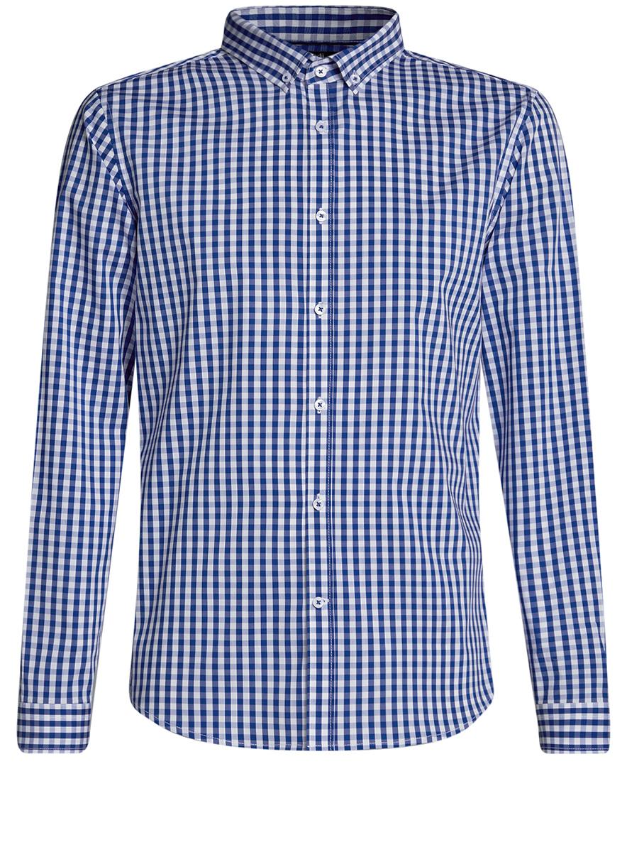 Рубашка мужская oodji Lab, цвет: белый, синий. 3L110135M/39767N/1075C. Размер 37-182 (42-182)3L110135M/39767N/1075CМужская рубашка oodji Lab выполнена из комбинированного материала. Модель с отложным воротником и длинными рукавами застегивается на пуговицы.