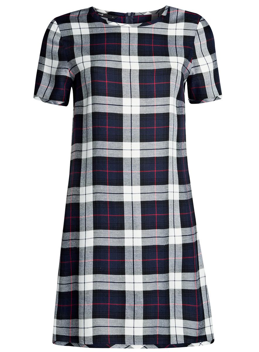 Платье oodji Ultra, цвет: темно-синий, белый клетка. 11901154/45208/7912C. Размер 36-170 (42-170)11901154/45208/7912CСтильное платье oodji Ultra прямого кроя выполнено из вискозы и оформлено принтом в крупную клетку. Модель мини-длины с круглым вырезом горловиныи короткими рукавами застегивается на скрытую молнию на спинке.