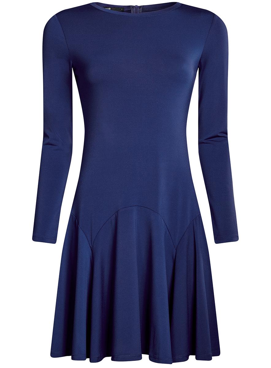 Платье oodji Ultra, цвет: синий. 14011015/46384/7500N. Размер S (44-170)14011015/46384/7500NПриталенное платье oodji Ultra с расклешенной юбкой выполнено из качественного трикотажа. Модель средней длины с круглым вырезом горловины и длинными рукавами застегивается на скрытую молнию на спинке.