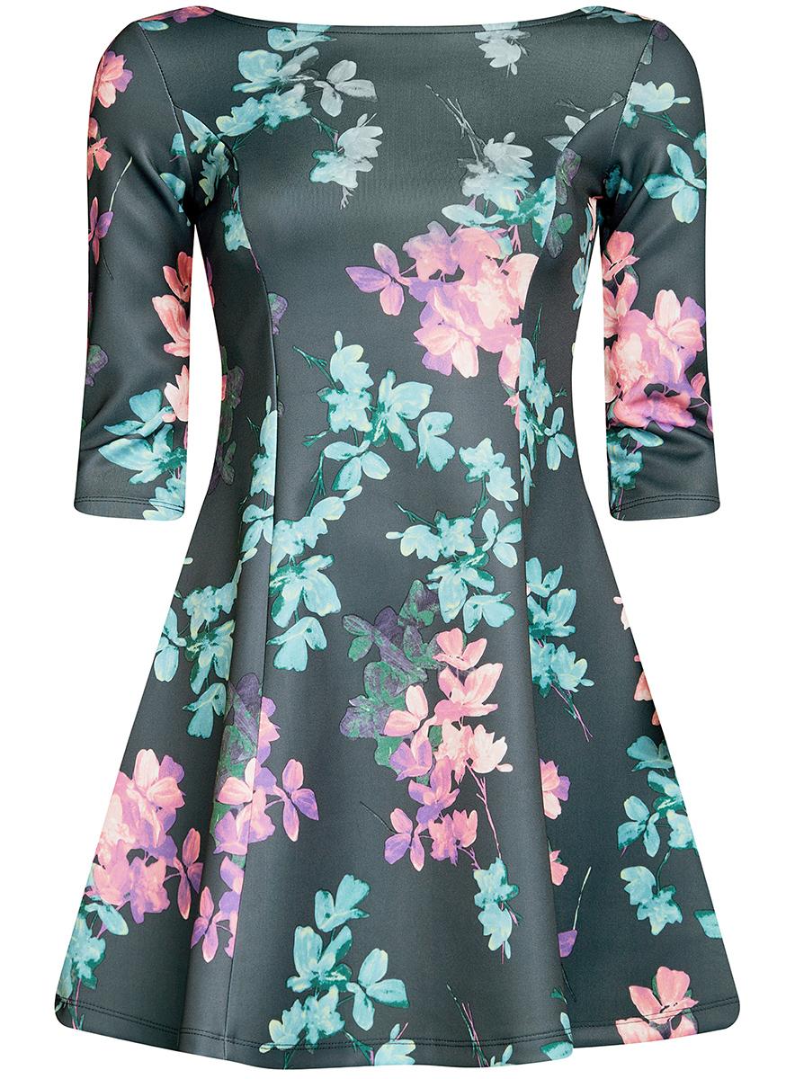 Платье14001150-3/33038/254BFСтильное платье oodji Ultra, выполненное из качественного полиэстера с небольшим добавлением эластана, отлично дополнит ваш гардероб. Модель-мини с круглым вырезом горловины и стандартными рукавами 3/4 оформлена оригинальным цветочным принтом.