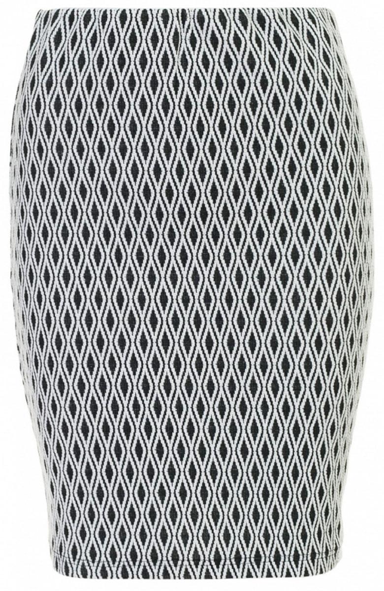 ЮбкаB477040_Black-White JacquardСтильная юбка-карандаш Baon с жаккардовым орнаментом в виде ромбов выполнена из плотного трикотажа. Модель с посадкой на талии великолепно смотрится на фигуре и подчеркивает все ее достоинства. Пояс дополнен эластичной резинкой. Такая юбка станет незаменимой вещью в гардеробе современной и уверенной в себе девушки и поможет создать модный образ.